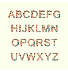 Doodle alphabet with abstract pattern on them vector image