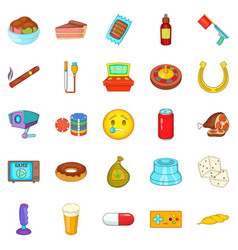 drugs icons set cartoon style vector image
