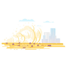 Dust storm goes to city vector