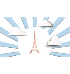 eiffel tower and cloud paper art vector image