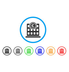 euro company building rounded icon vector image