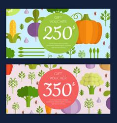 flat vegetables vegan shopping voucher vector image