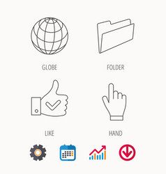 Folder press hand and world globe icons vector