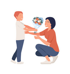 giving flowers to mom mother day concept vector image