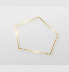 Golden border frame with light shadow and light vector