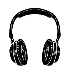 hand drawn headphones isolated on white vector image