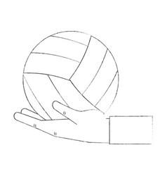 Hand holding voleyball ball vector