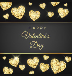 happy valentines day greeting card golden heart vector image