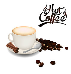 hot coffee white coffee cup coffee bean white back vector image