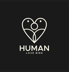 Human love bird abstract logo vector
