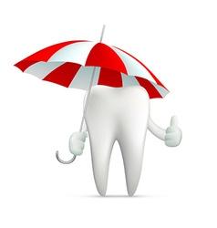 human tooth holding an umbrella vector image