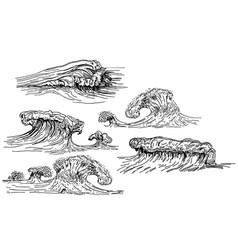 ink hand drawn waves set vector image