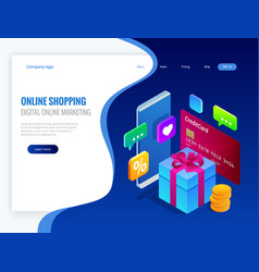 isometric online shopping concept digital online vector image