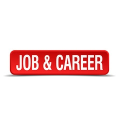 Job and career red 3d square button isolated on vector