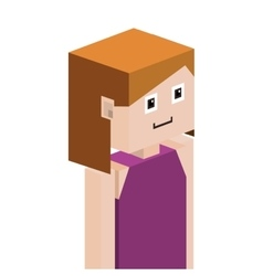 Lego girl half body with shirt without sleeves vector