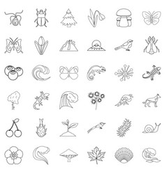 life forest icons set outline style vector image