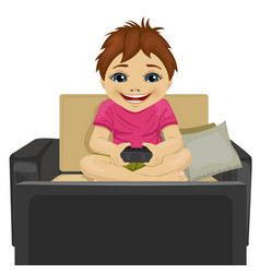 little boy playing video game at home vector image