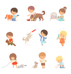little children taking care domestic animals vector image