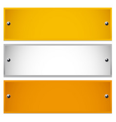 Long rectangle golden silver bronze plaques with vector