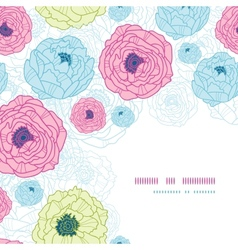 Lovely flowers corner seamless pattern background vector image
