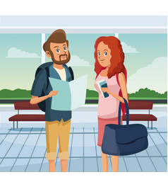 Loving couple standing at airport traveling scene vector