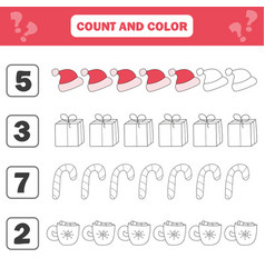 Mathematics worksheet for kids count and color vector