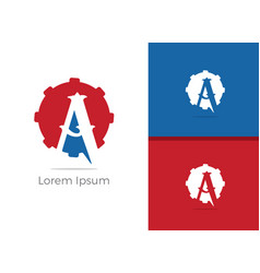mechanic a letter a in gear icon vector image