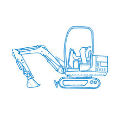 Mechanical digger mono line vector