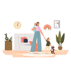 Nanny with kids at home young babysitter female vector