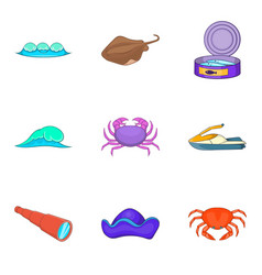 nautical life icons set cartoon style vector image