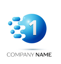 Number one splash logo blue dots and bubbles vector