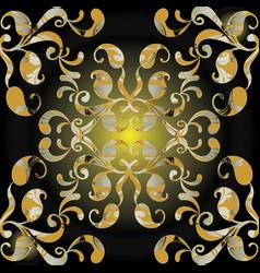 paisleys seamless pattern black shiny vector image