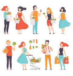 people with bags with healthy food men and women vector image