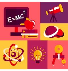 Physics flat design icons set vector