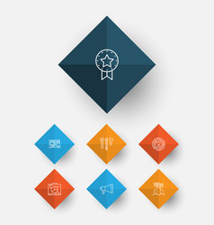 Project icons set collection of present badge vector
