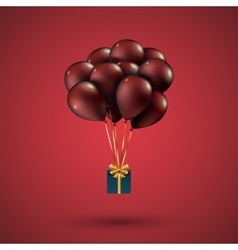 Red balloons raised a gift box depicted on vector
