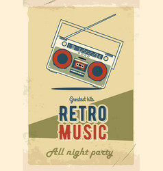 Retro party poster design music event at night vector