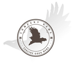 retro vintage flying eagle hawk falcon badge vector image