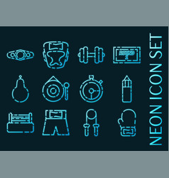 set boxing blue glowing neon icons vector image