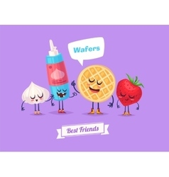 Set of breakfast characters cute cartoons vector