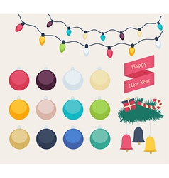 Set of colorful New Year icons vector image