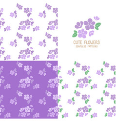 Set of seamless violet flowers pattern vector