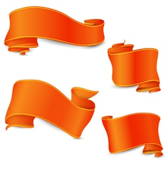 Set of the perfect orange ribbons with yellow and vector image