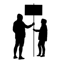 Silhouette man and woman hold banner on a pole vector
