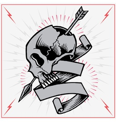 Skull Arrow and Ribbon vector