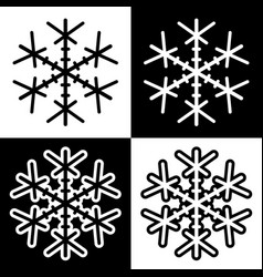 snowflake symbols icons simple black white set 4 vector image