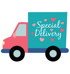 Special delivery truck hearts vector