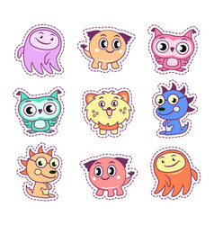 stickers set pop art style with cartoon monsters vector image