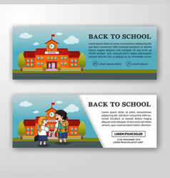 Student and school building banner vector