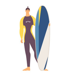 Tall strong young man with longboard surfboard vector